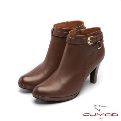 CUMAR柔美軍裝風-個性金屬皮帶環裝飾防水台高跟鞋-深芋