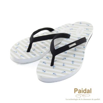 Paidal 海洋風小船錨帆布人字拖海灘拖鞋-黑