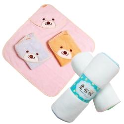 COTEX可透舒 可愛寶寶沐浴2件組 微笑貝爾熊浴巾和柔布帕