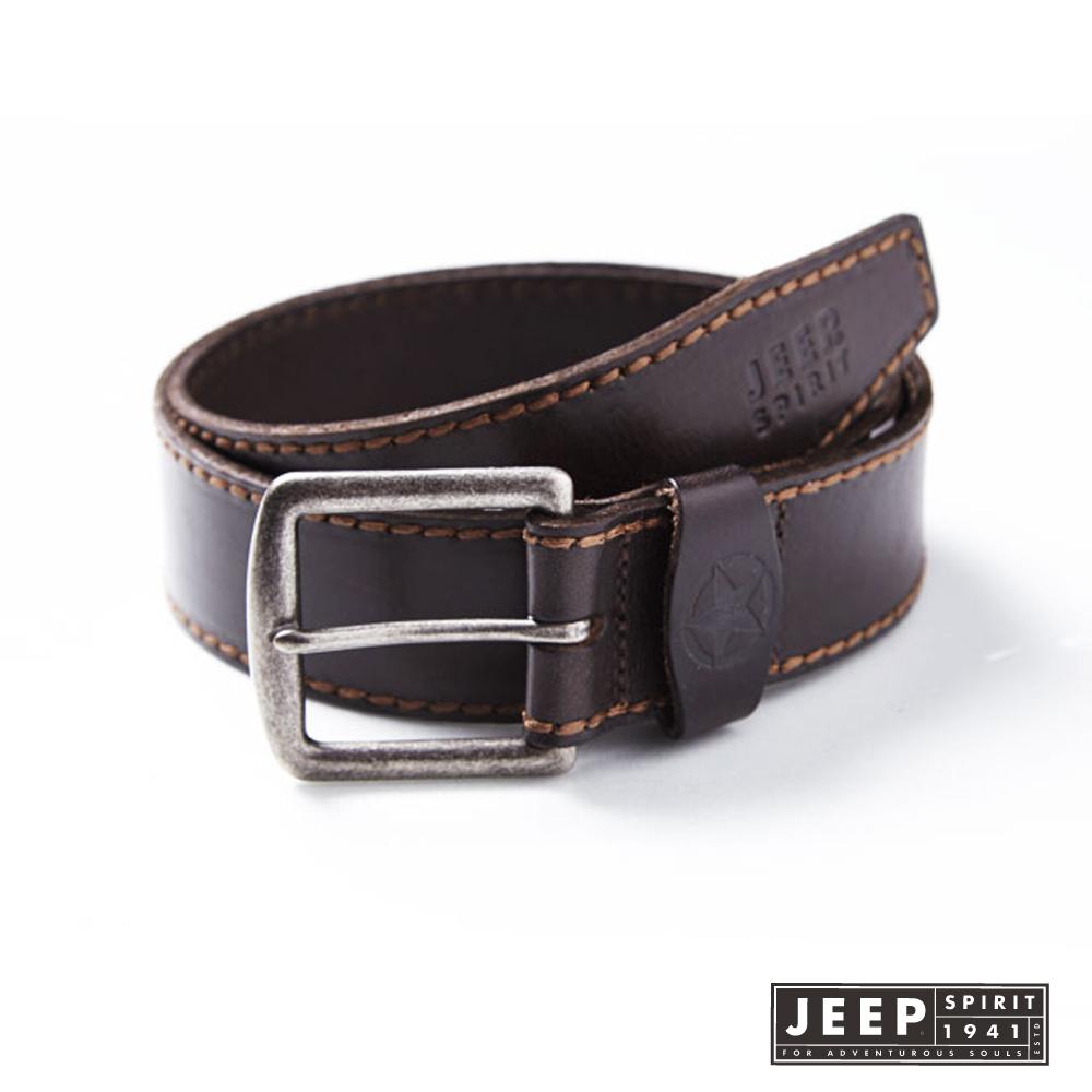 JEEP 青春校園經典素面縫線造型皮帶 (深褐色)