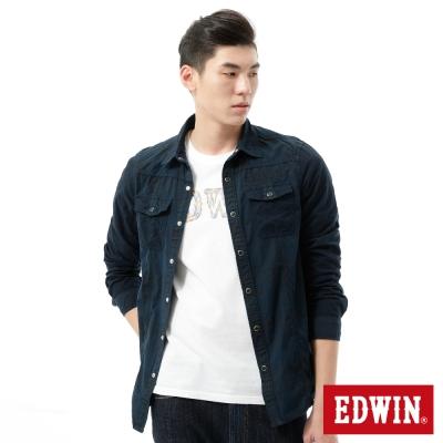 EDWIN 襯衫 成品染格紋剪接襯衫-男-黑藍