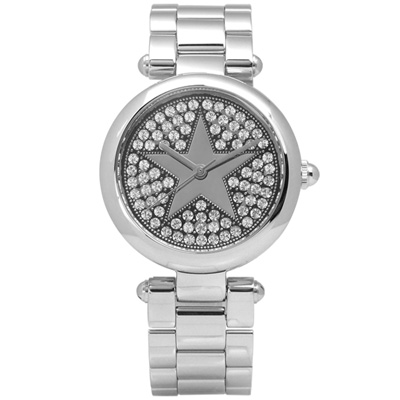 Marc Jacobs Dotty 璀璨星芒閃耀晶鑽不鏽鋼手錶-銀色/33mm