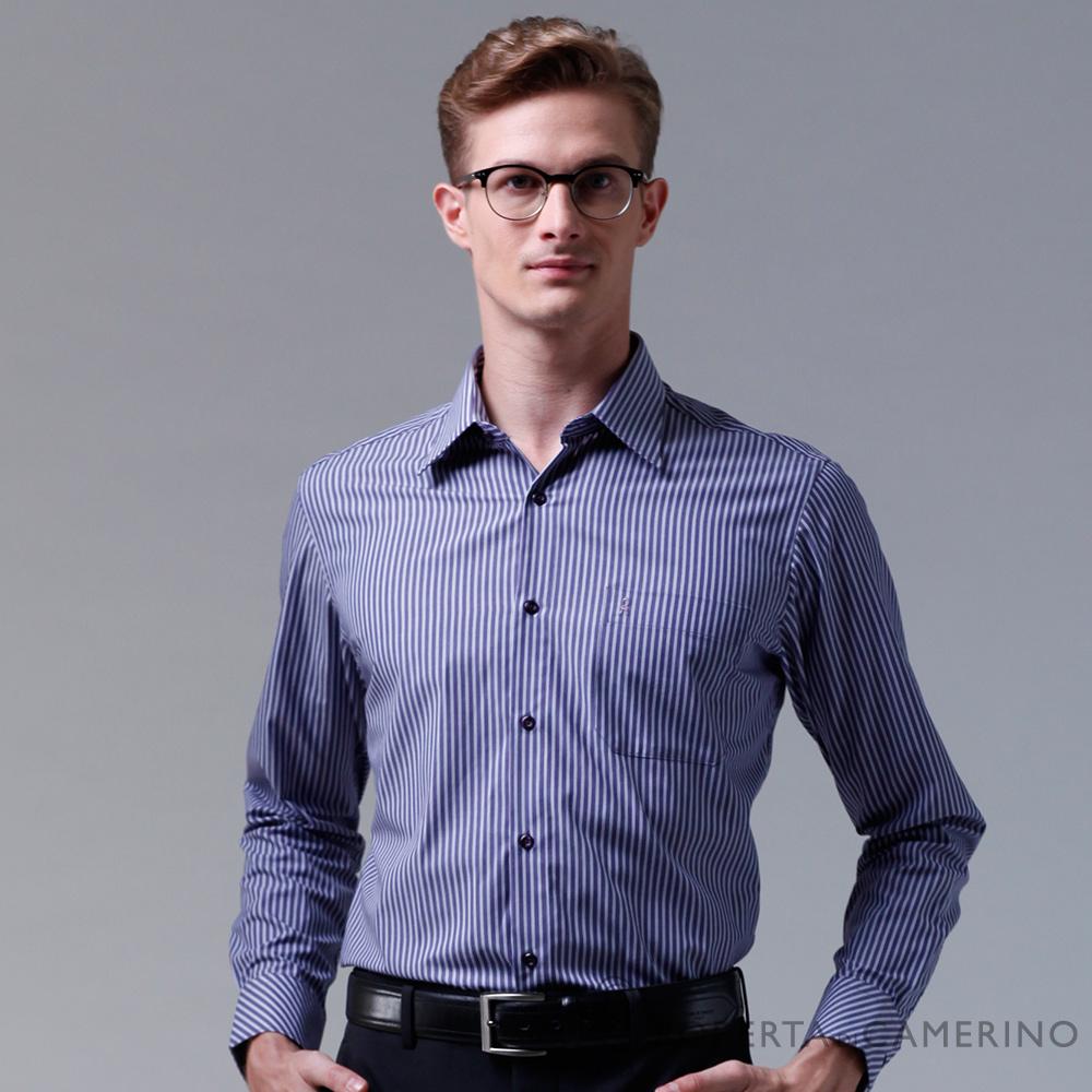 ROBERTA諾貝達 台灣製 合身版 品味條紋長袖襯衫 紫色