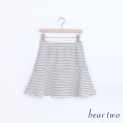 beartwo-摩登條紋印花造型剪裁魚尾裙-二色