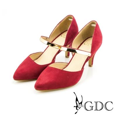 GDC-都會時尚金屬質感扣帶真皮尖頭高跟鞋-紅色