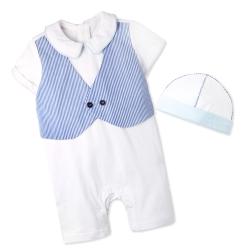 baby童衣 寶寶套裝 帥氣歐風連身衣及帽子套組61051