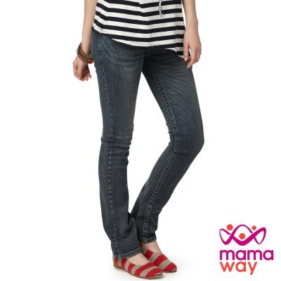【Mamaway】孕期窄管3D牛仔褲(刷白藍)