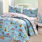 鴻宇HongYew 100%美國棉 防蹣抗菌-交通樂園 雙人床包枕套三件組