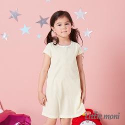 Little moni 涼感系列條紋兒童睡衣洋裝 黃色