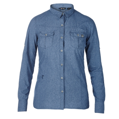 【Berghaus 貝豪斯】女款銀離子透氣抗UV長袖襯衫S05F02-藍