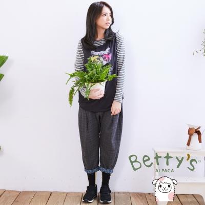 betty's貝蒂思 格紋寬鬆下擺反摺飛鼠褲(灰色)