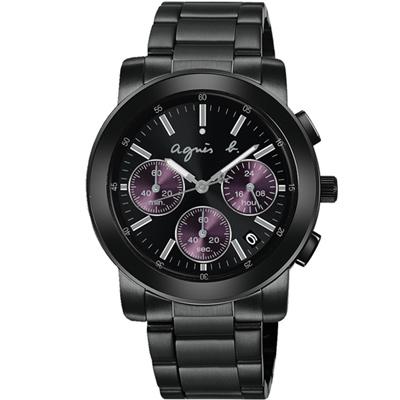 agnes b. 魔幻IP黑紫精靈鍊帶腕錶(BT3032X1)x38mm