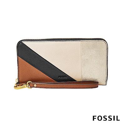 FOSSIL EMMA真皮RFID拉鍊長夾-簡約色塊