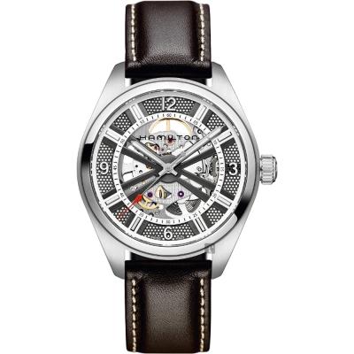 Hamilton KHAKI FIELD卡其野戰全鏤空機械腕錶-銀x咖啡/42mm
