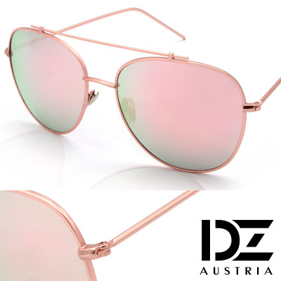 DZ 夏潮細線樑 抗UV太陽眼鏡造型墨鏡(瑰金框幻粉膜)