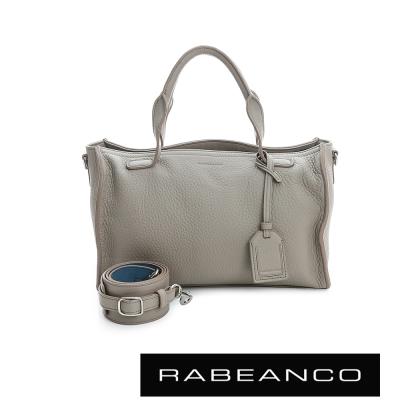 RABEANCO-荔枝紋皮革手提肩背長方肩背包-淺灰