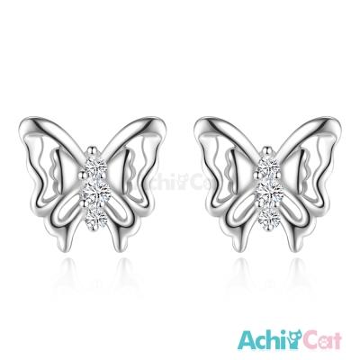 AchiCat-925純銀耳環-蝶戀時光-純銀耳針
