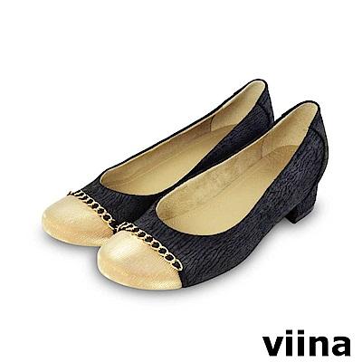 viina-復古奢華撞色金鍊低跟鞋-黑色