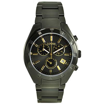 LOVME 神話印記時尚三眼腕錶-IP黑x金刻度/41mm