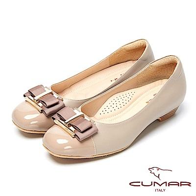 CUMAR粉領時尚-嚴選舒適真皮低跟包鞋-可可色