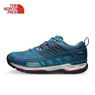The North Face北面女款藍色防水登山徒步鞋