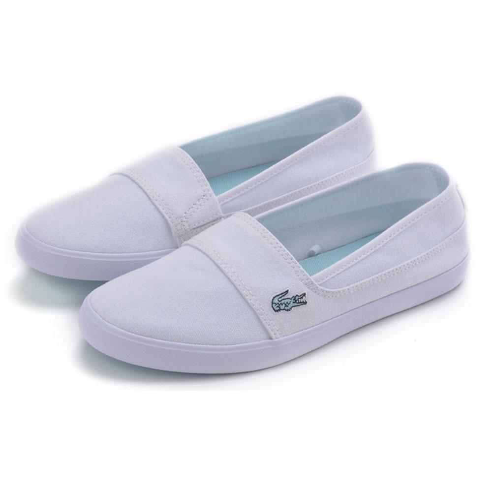 LACOSTE marice 女用休閒帆布懶人鞋-白色