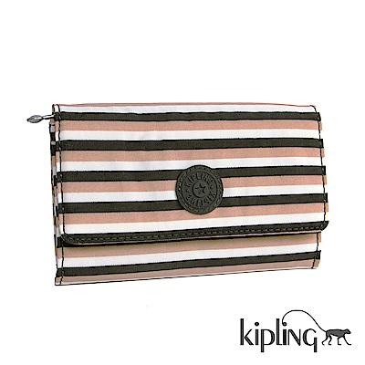 Kipling 長夾 簡約條紋密橙-小