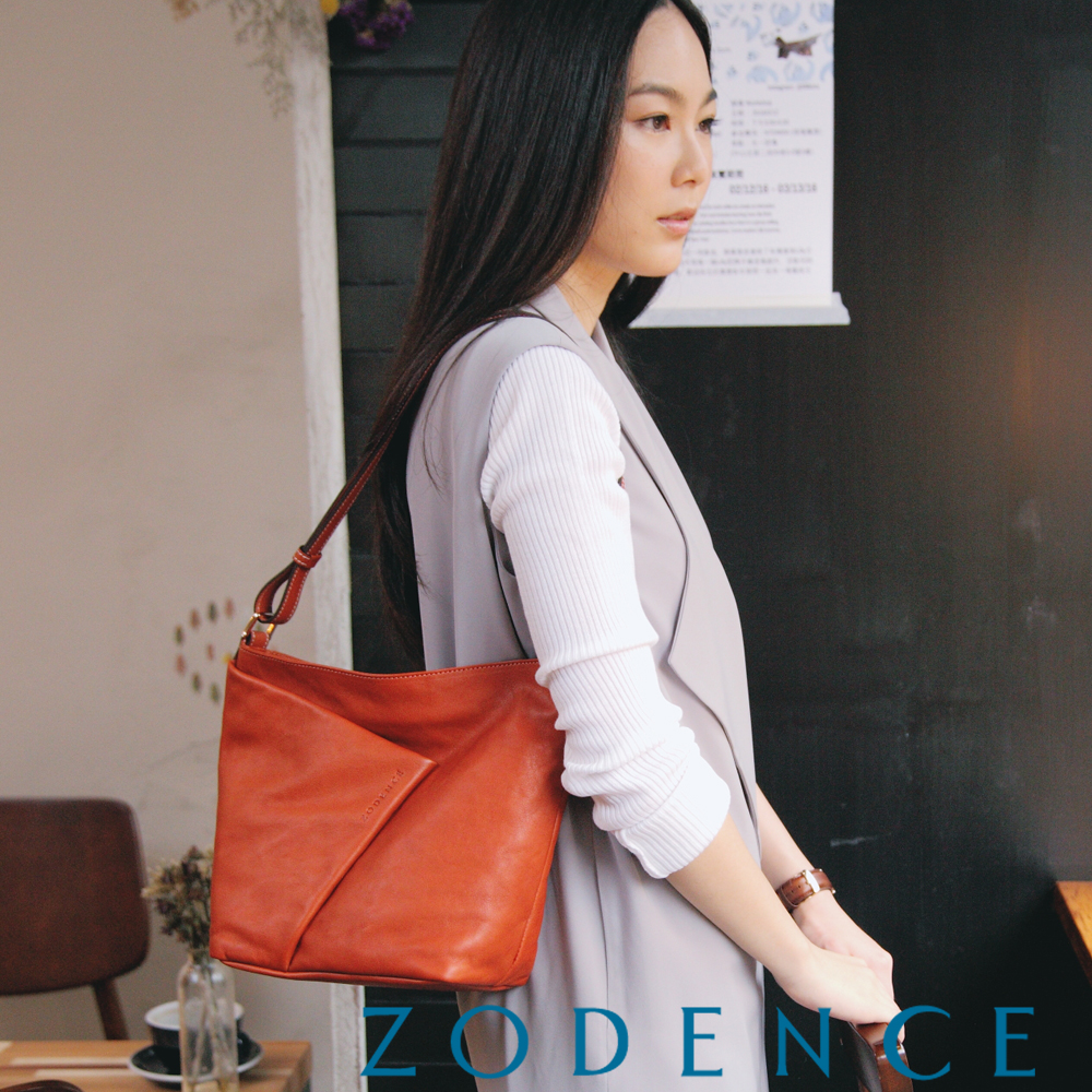 ZODENCE 義大利質鞣革系列不對稱柔軟拉鍊肩背包(小) 橘紅