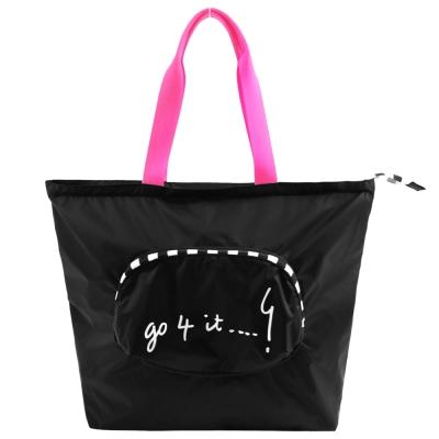 agnes b.摺疊輕便購物袋-黑