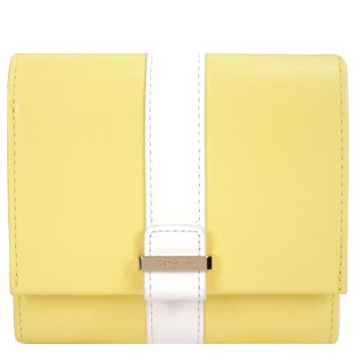 agnes b.皮革直紋飾帶翻蓋短夾(亮黃)