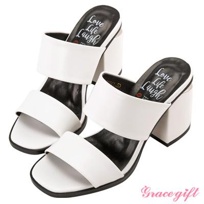 Grace gift X Kerina妞妞-雙寬帶金屬片粗跟涼鞋 白