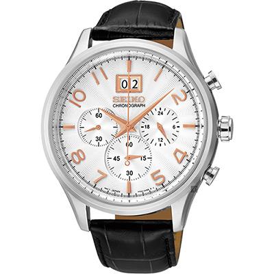 SEIKO精工 CS 爵士大日期視窗計時腕錶(SPC087P1)-銀/42mm