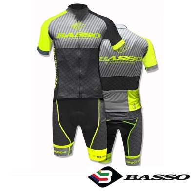 義大利BASSO-成套吊帶車衣褲-螢光黃