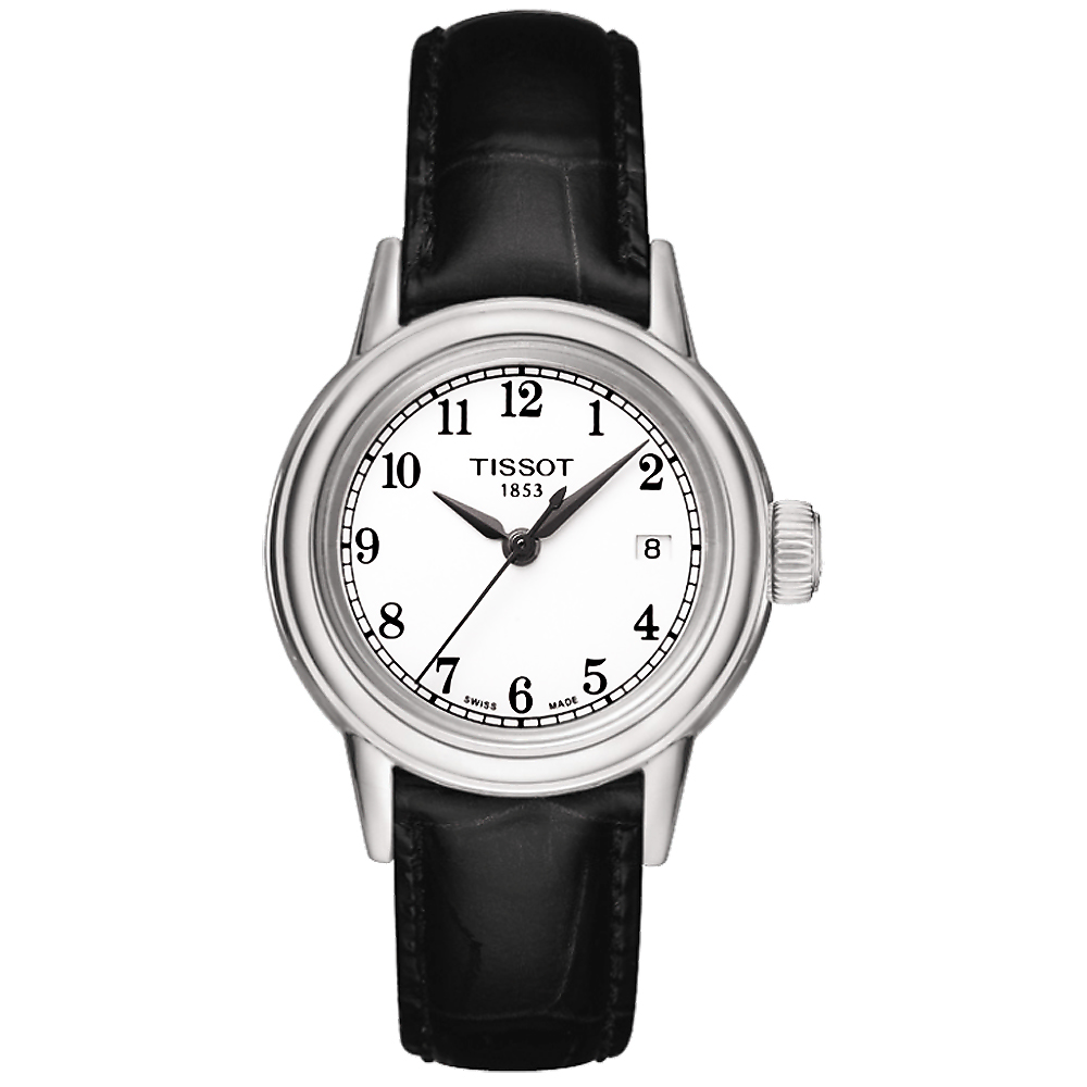 TISSOT T-Classic Carson 都會石英女錶-白x黑/29mm