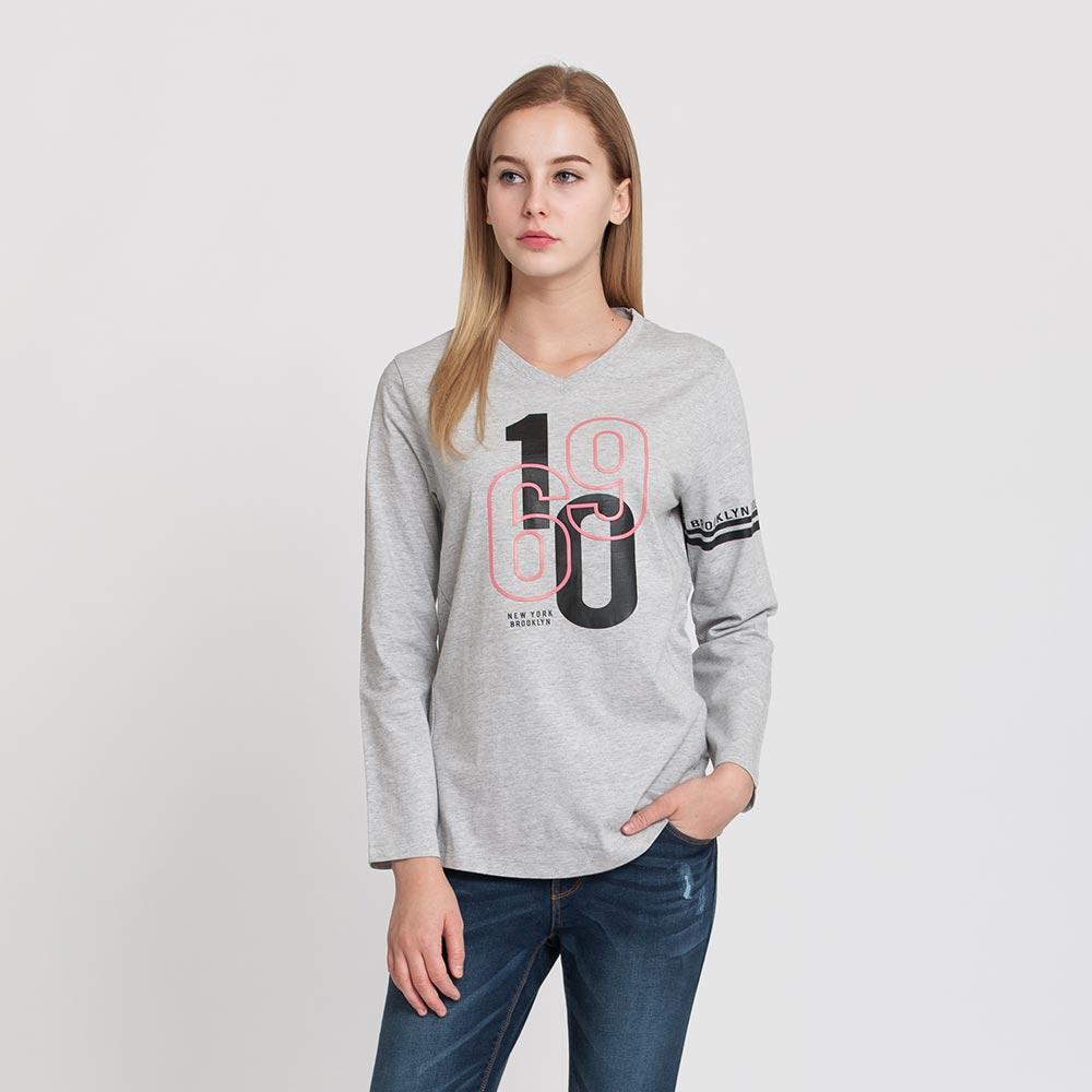 Hang Ten - 女裝 - 有機棉 V領1960圖章T恤 - 灰