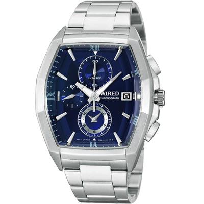WIRED-New-Standard-自我潮流三眼計時腕錶-AF8R57X1-藍-38mm