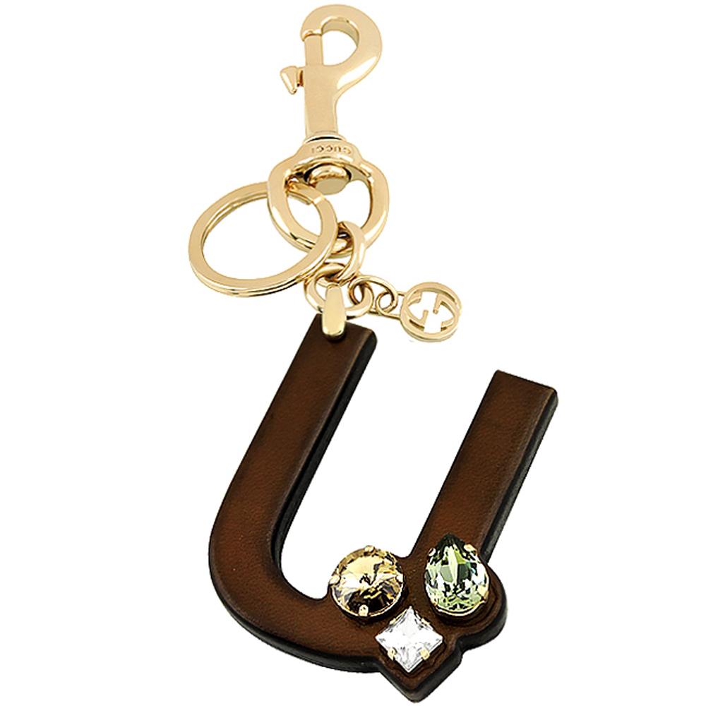 GUCCI 字母「U」水晶鑲嵌鑰匙圈