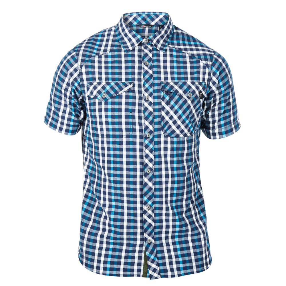 【Berghaus 貝豪斯】男款銀離子除臭抗菌抗UV短袖襯衫S06M04-藍
