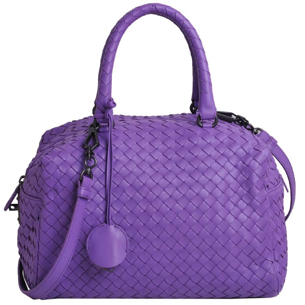 BOTTEGA VENETA 經典羊皮編織手提斜背兩用方包(紫羅蘭色)
