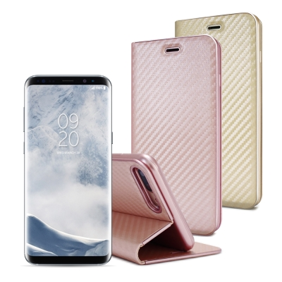 AISURE Samsung Galaxy S8 Plus/S8+ 水漾碳纖紋皮...