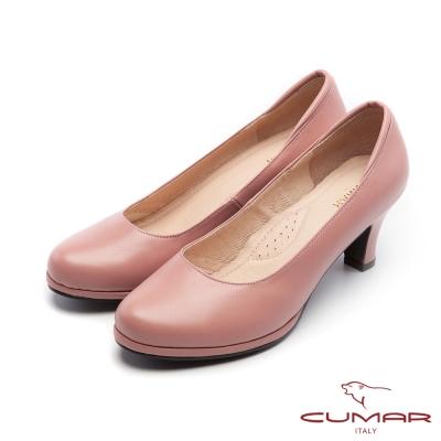 CUMAR經典黑與白簡約素面OL防水台粗跟高跟鞋粉