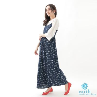 earth music  SET ITEM 雪紡高腰吊帶連身寬褲+基本款寬袖上衣