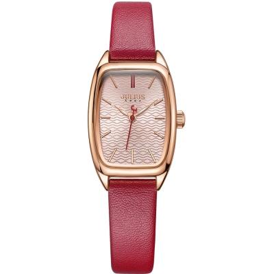 JULIUS聚利時 熱浪來襲海浪錶面皮帶錶-粉紅x紅色/23X35mm