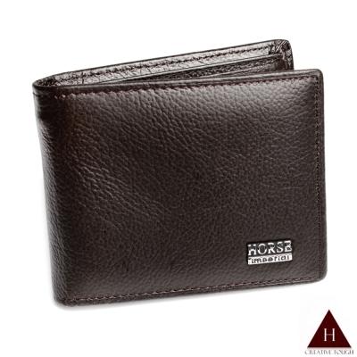 H-CT HORSE系列深咖啡零錢袋款真皮短夾(SE089-B02-Z)