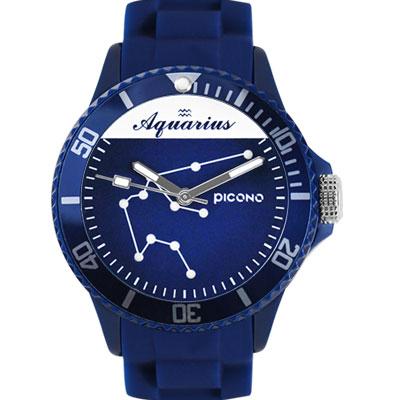 PICONO 星座系列休閒腕錶-水瓶座x藍/48mm