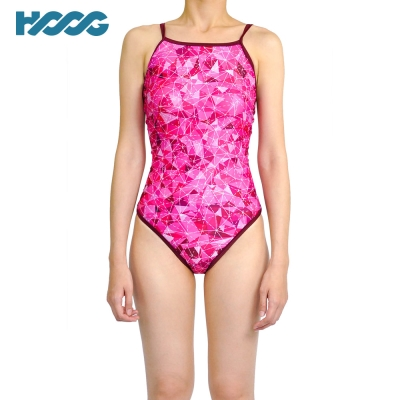 韓國HOOG 連身挖背泳裝WSA670 桃紅