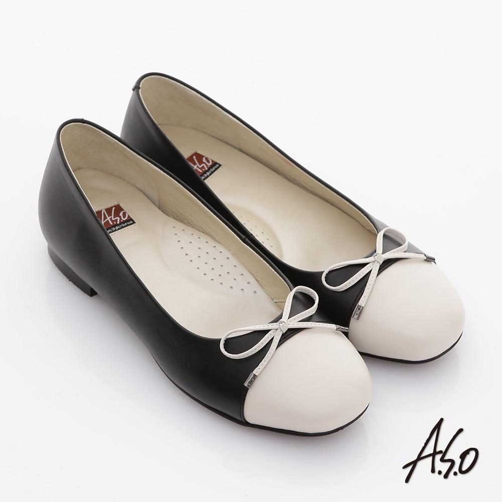 A.S.O 舒適通勤 全真皮拼接細帶蝴蝶飾平底鞋 黑