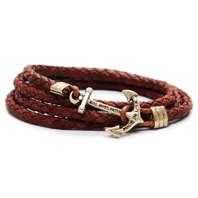 Kiel James Patrick棕色纏繞編織古銅船錨皮革多圈手環