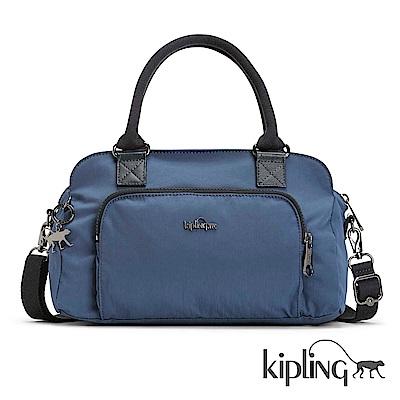 Kipling 手提包 緞面藍素面-中