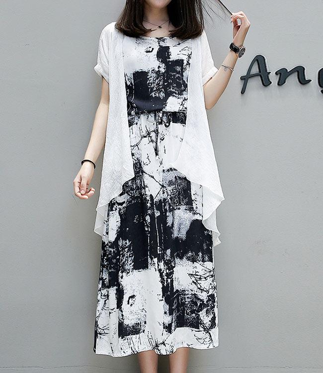中大尺碼水墨花兩件組白色長罩衫暈染背心洋裝XL~4L-Ballet Dolly